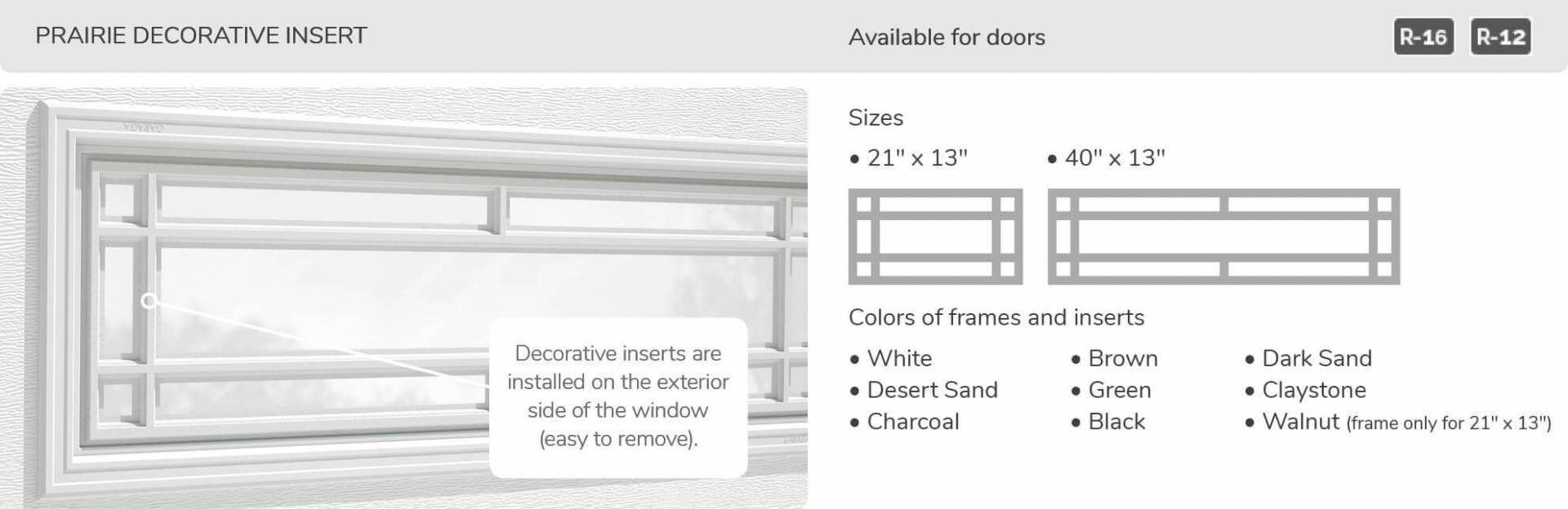 Prairie Decorative Insert, 21' x 13' and 40' x 13', available for door R-16 and R-12