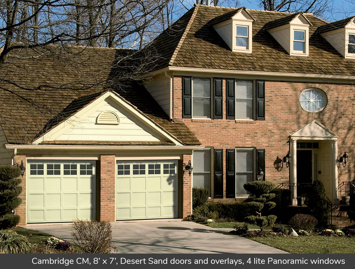 Cambridge CM, 8' x 7', Desert Sand doors and overlays, 4 lite Panoramic windows